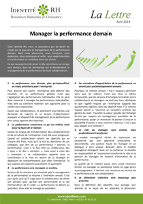 Lettre Avril 2019 - Manager la performance demain