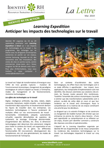 Lettre Mai 2019 - Learning Expedition - Anticiper les impacts des technologies sur le travail
