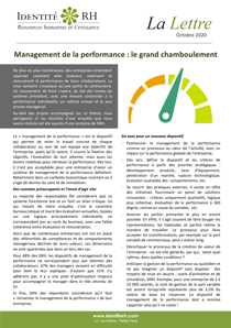 Lettre Octobre 2020 - Management de la performance : le grand chamboulement